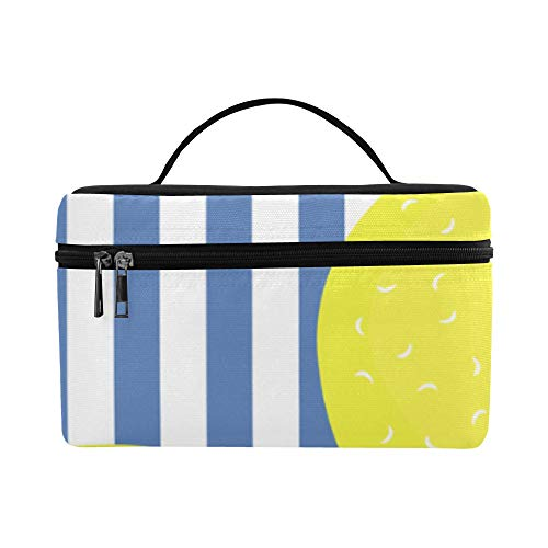 Strip Lemon Yellow Fruit Large Capacity Size Lady Cosmetic Bag Makeup Organizer Lunch Box Tote Holder Case Cooler For Girl Women Travel Picnic