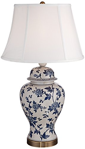 Ginger Jar Porcelain Lamp (Rose Vine Blue and White Temple Jar Table Lamp)