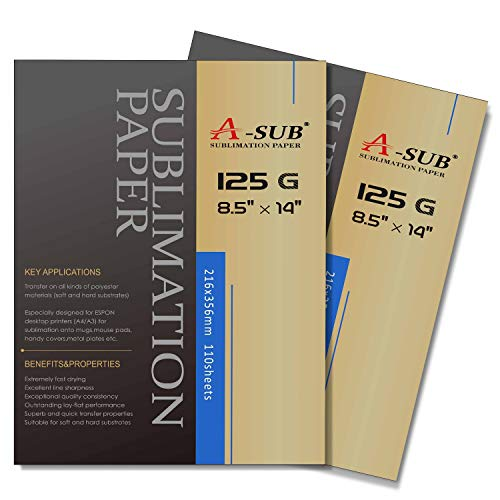 A-SUB Sublimation Paper 220 Sheets 8.5 x 14 Inches Compatible with EPSON ME Series,RICOH GX Series and SAWGRASS Printers Legal Size Sheets 125gsm ()