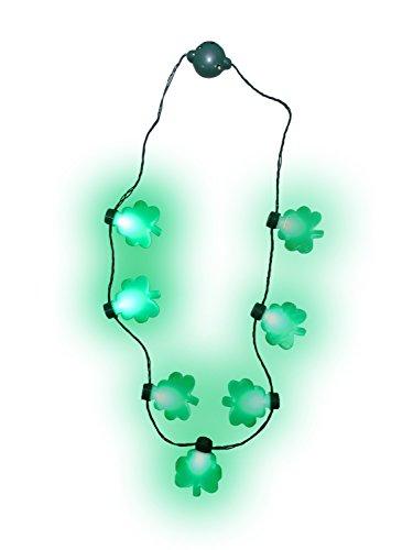 - Nicky Bigs Novelties Light up St. Patricks Day Shamrock Necklace Flashing Green Bulb LED Glow Clover