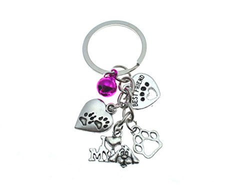 I Love My Dog Key Chain.Heart PAW Prints,Best Friend, Cute Dog Charm with Bell.Perfect Gift for Any Dog Lover,Groomer,or Vet ()