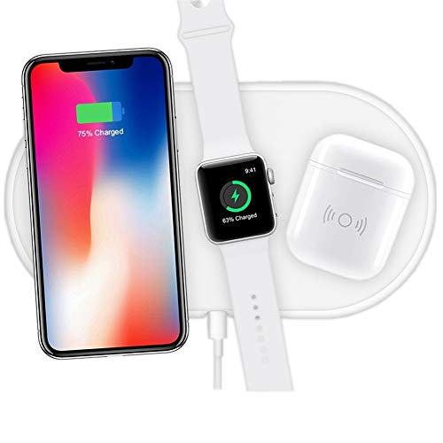 Hisri 3 in 1 Qi Wireless Charging Pad,Fast Wireless Charger Compatible for iPhone X/XS Max/8/8 Plus Apple Watch Airpods Samsung Galaxy Note 8/S9/S8 and All Qi Enable Device (White Only Wireless Pad)