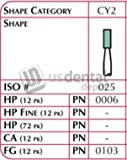 SHOFU - FG Dura-Green Cylindrical Cy2 12pk - (#0103) [ Verde Arkansas pulir resina Para montada Piedra ] 111485 DENMED Wholesale