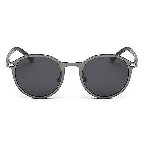 Gray Round Unisex Brown Gafas de Yxsd Sol Metal SunglassesMAN Color qAaUfWw