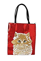 Sequin PU Leather Tote Bag with Kitty Print