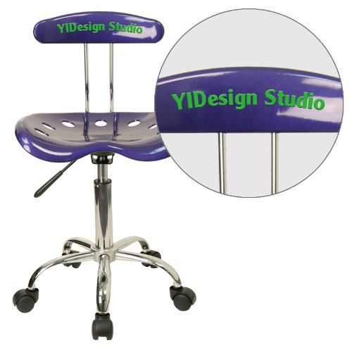 """Personalized Vibrant Deep And Task Chair With Tractor Seat Blue/Chrome/16.5""""L x 17""""W x 34.75""""H"""