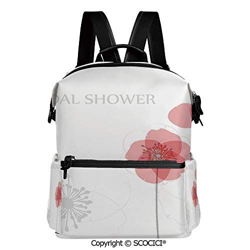 Modern Printed Poppies (SCOCICI All Over Printed Girl's/Boy's Backpack,Modern Poppy Flower Buds Abstract Shadow Design Image,L11.4xW6.3xH15 Inches)