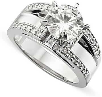 14K White Gold Round Brilliant Cut 8.0mm Moissanite Ring, 2.20cttw DEW By Charles & Colvard
