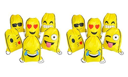 16''x13'' Emoticon Drawstring Backpack 12-Pack by Rhode Island Novelty