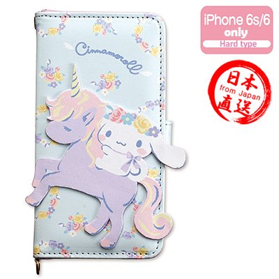 Sanrio Hello Kitty Friend Cinnamorol iPhone 6s iPhone 6 wallet case(Pastel) Mirror and card pocket strap hole -