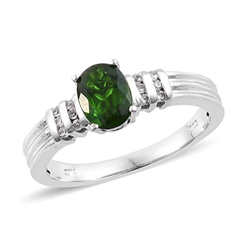 (925 Sterling Silver Platinum Plated Chrome Diopside Zircon Statement Ring for Women Size 5 Cttw 1.1)
