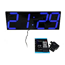 Greenwayyd 18in Jumbo Digital Blue LED Wall Clock Thermometer Calendar Snooze Function