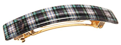 France Luxe Classic Rectangle Barrette - Tartan Plaid Navy/Green/White