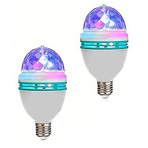 XUNATA 2-Pack Rotating LED Strobe Bulb RGB Multi Changing Color Crystal Stage Light, - Rotating Disco