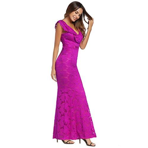 Abendkleid Huhu833 Frauen VAusschnitt Sleeveless Blumenspitze ...