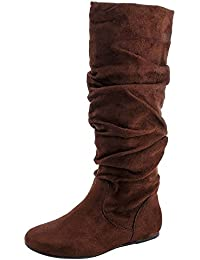 Women's Zuluu Slouchy Faux Leather Knee HIgh Flats Boots