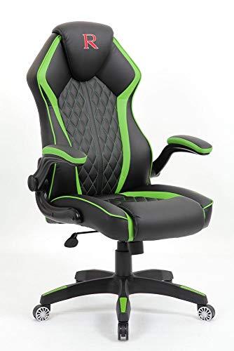 Vivol - Silla para videojuegos con diseno – Negro Verde – PC Game Chair – Diseno moderno – Silla para jugadores con mecanismo de inclinacion