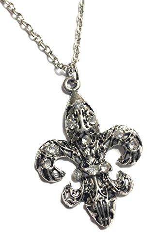 Shooting Star Accessories Fleur de Lis Necklace Crystal Rhinestones (Silver Tone Clear Stone)