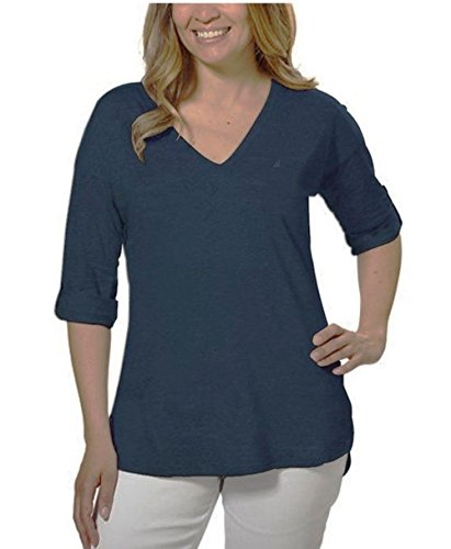 Nautica Ladies' V-neck Top with Roll Tab Tee (Small, Charcoal)
