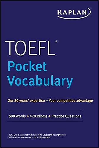 Amazon com: TOEFL Pocket Vocabulary: 600 Words + 420 Idioms