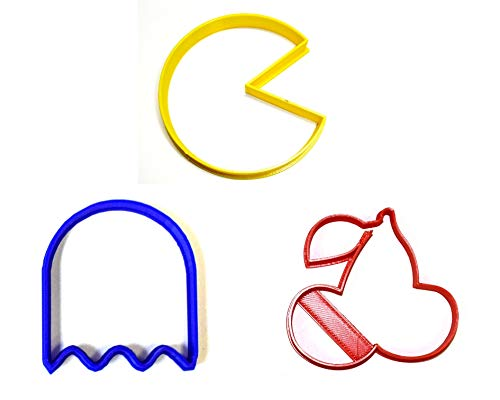 PAC-MAN PACMAN VIDEO ARCADE GAME CHARACTER GHOST CHERRY SET OF 3 SPECIAL OCCASION COOKIE CUTTERS BAKING TOOL 3D PRINTED MADE IN USA PR1074 -