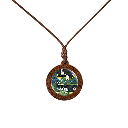 - The Starry Night Pendant Van Gogh Necklace Glass Cabochon Art Painting Wood Pendant Jewelry Statement Necklace Birthday Gift