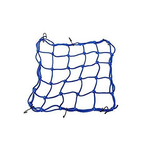 "Heavy-Duty Cargo Net for Motorcycles, ATVs - Stretches,6 Hooks Hold Down Fuel Tank Bag Helmet Cargo Tanked tkd Racing Net Bungee Cord Luggage Net around 12""12"" … (blue)"