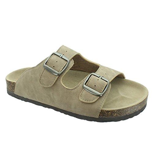 Outwoods Women's Bork-46 Vegan Leather Adjustable Double-Strap Slip-On Sandals