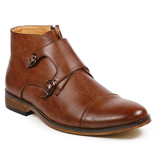 Metrocharm MC117 Men's Cap Toe Double Monk Strap Formal Dress Casual Ankle Boots (9, Brown) - Leather Formal Ankle Boot