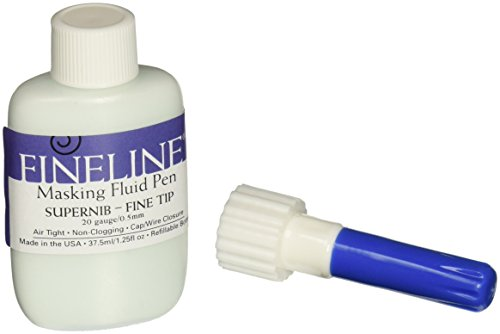 Fineline Masking Fluid Pen 20 Gauge W/Masking Fluid, 1.25 Ounces (Best Masking Fluid For Watercolor)