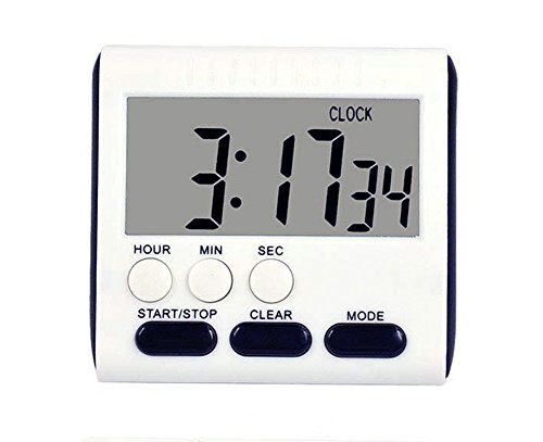 Kitchen Timer, Magnetic Digital Timer Clock, Large LCD Display Multi-Function Count Up Countdown(Black)