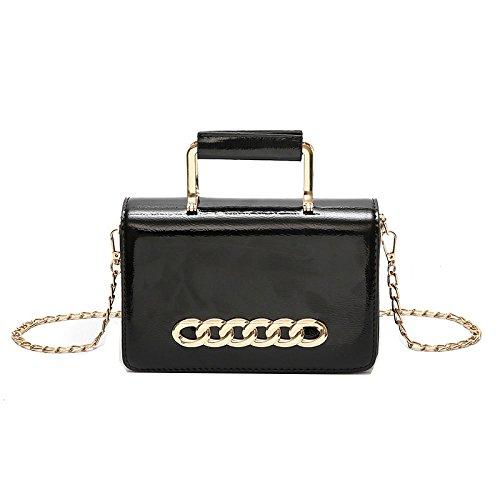 Hombro Bag Pequeño Black Casual Fashion Ms Cuadrado Elegante Crossbody ZLLNSXKB Paquete Temperament Brillante De Wild Bolsas Bolso zxPXqHA