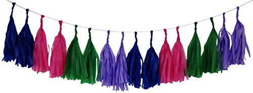 Just Artifacts Tissue Paper Tassel Garland KIT (Jewel) - 16 X Hanging Tassels - Royal Blue, Fuchsia, Kelly Green, Purple Color Combination. Click for More Color Combinations!