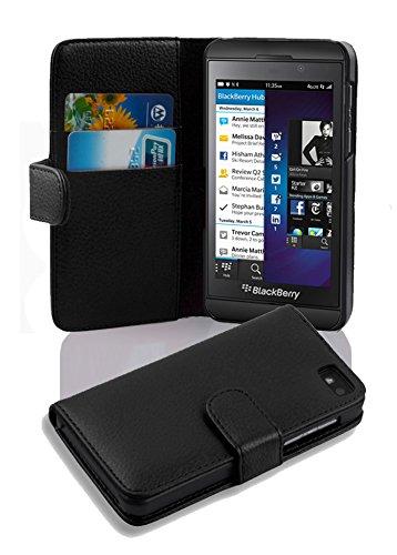 Cadorabo - Book Style Hülle für Blackberry Z10 - Case Cover Schutzhülle Etui Tasche mit Kartenfach in OXID-SCHWARZ