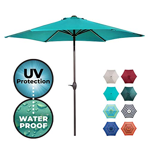 Abba Patio Outdoor Patio Market Table Umbrella with Push Button Tilt and Crank, 9-Feet, Teal - Outdoor Umbrella
