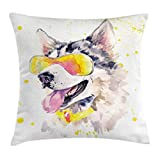 Ambesonne Animal Throw Pillow Cushion Cover by, Funny Husky Dog with Sunglasses Humorous Cute Watercolor Cool Puppy Picture, Decorative Square Accent Pillow Case, 18 X 18 Inches, Yellow Grey Beige