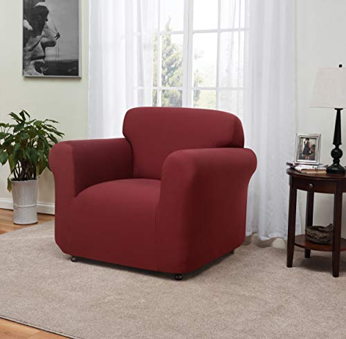Madison Stretch Jersey Chair Slipcover, Solid, Ruby