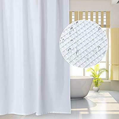 IDEALHOUSE Waffle Fabric White Shower Curtain -Waterproof Waffle Weave Fabric Shower Curtain for Bathroom,72'' x 72'' - MATERIAL: Our shower curtain is made from expertly chosen and thoroughly tested polyester fabric, which is made to withstand moisture-rich bathroom environments. Soft, waterproof, wrinkle-resistant, tear-resistant and sturdy for long-term use.simple & elegant waffle plaid create a modern look. SAFE & ECO-FRIENDLY:It doesn't give off unpleasant odors like PVC or plastic ones. No fading, safe and healthy.Simply the safest shower curtain for you and your family. Crafted with premium fabric ensures long-last use and durability. 100% WATERPROOF: This curtain's expertly manufactured fabric has been treated to be water repellent, to let water bead stay on the surface, quick to repel and dry ,and prevents curtain soaking and bathroom floor messes. - shower-curtains, bathroom-linens, bathroom - 41DUXqyxpoL. SS400  -
