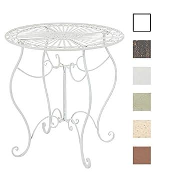 Clp Mesa De Jardin En Hierro Forjado Indra Mesa Redonda Estilo Rustico Mesa Auxiliar De Exterior Color Blanco