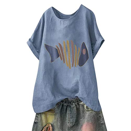 Holzkary Women's Fashion Funny Pattern Tees Casual Solid Printed Loose Batwing Sleeve T-Shirt Tops(2XL(18).Blue-Fish)