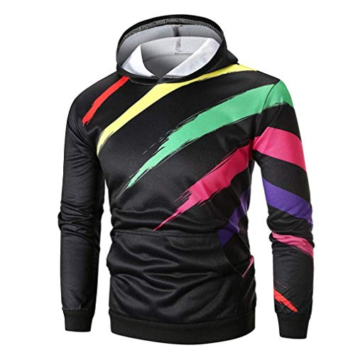 - Men's Winter Long Sleeve Printed Hoodie Top Outwear Blouse Casual Blouse Fashion Sport Wild Tight Black White for Mens (Color : Mehrfarbig, Size : XXL)