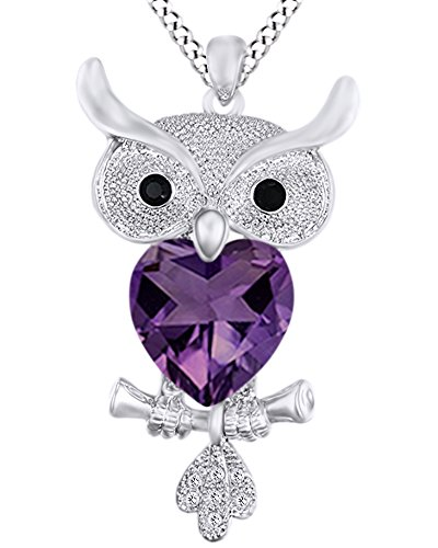 AFFY Heart Shape Simulated Amethyst & Round Cut White & Black CZ Owl Pendant Necklace 14k White Gold Over Sterling Silver