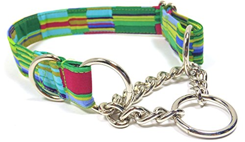 Green Paint Blocks Half Check Chain Collar, Adjustable Handmade Greyhound Fabric Collars – Medium