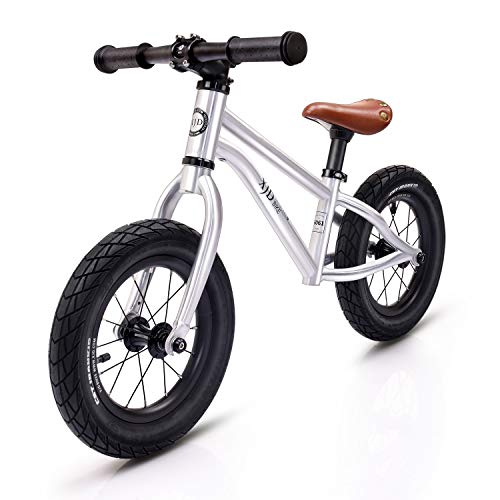 XJD Kids Balance Bike Ages 1.5 to 6 Years No Pedal Aluminum Frame Adjustable Seat Air Tires Lightest First Bike (Silver)