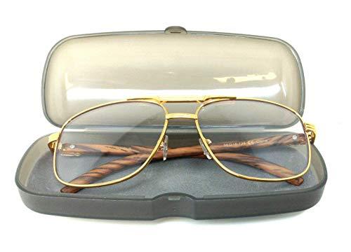 34bdab2401 Executive Metal   Wood Aviator Eyeglasses Clear Lens Sunglasses - Frames  (Gold   Cherry