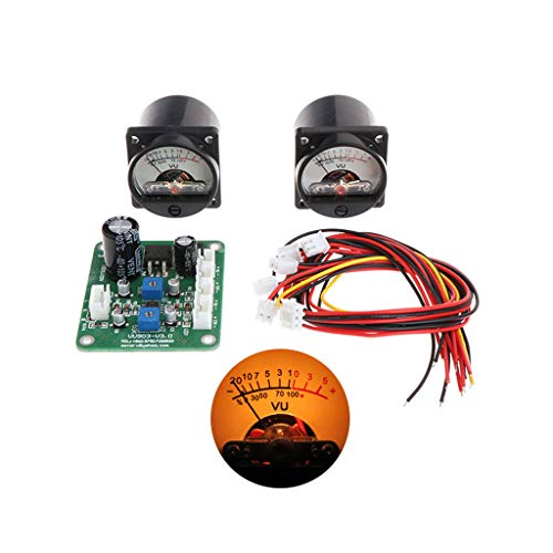 2 Pcs VU Panel Meter Warm Back Light Recording+Durable Driver Board Module+Cables
