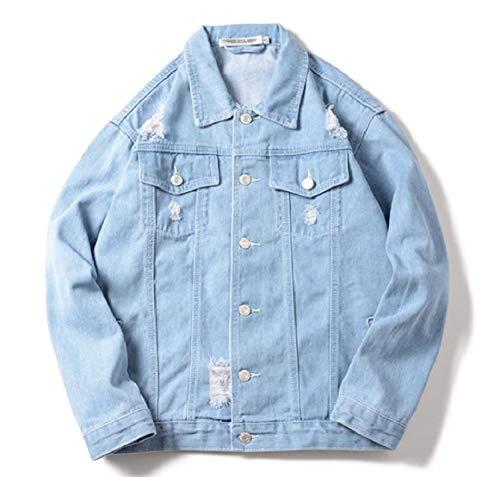 Jacket Light Ripped Jean Down Turn Bomber Button Men Pocket Collar RkBaoye Denim Blue wTvCq1xPfT