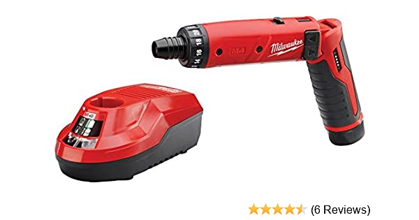Hex 4V Lithium-Ion 2-Speed 21 Clutch MILWAUKEE Cordless Screwdriver Kit 1//4 in