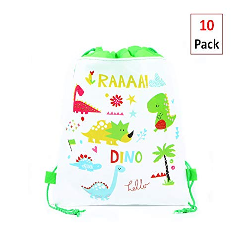 EIXJA 10 Pack Dinosaur Party Bags,Drawstring Party Gift Bags,Dinosaur Party Supplies Candy Bags,Baby Shower Treat Bags,Party Goodie Bags for Birthday,10.6