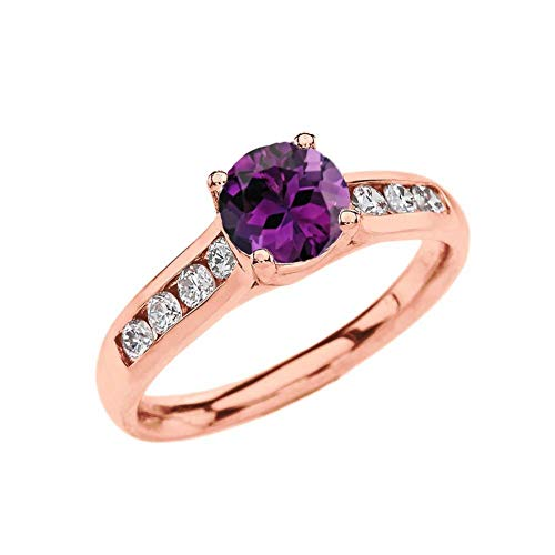 - Elegant 10k Rose Gold CZ Channel-Set Personalized Solitaire Genuine Amethyst Engagement Proposal Ring (Size 6.25)